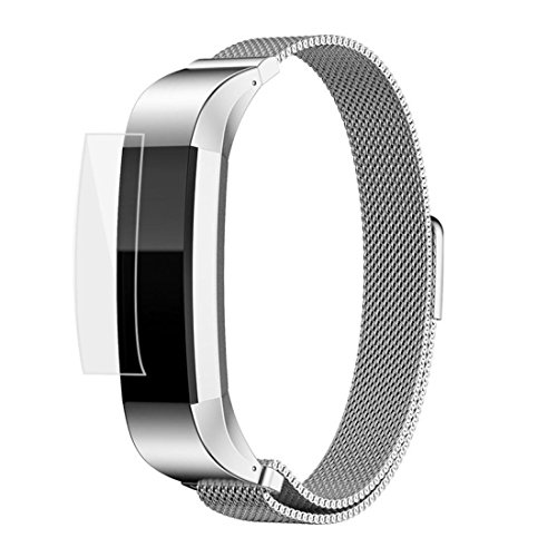 Fitbit Alta HR and Alta Bands Metal, HANYI Milanese Loop Stainless Steel Bracelet Smart Watch Strap with Unique Magnet Lock for Fitbit Alta Replacement Wristbands (Silver + HD Film)