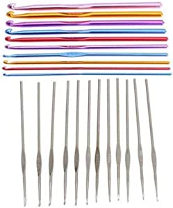 مجموعة 22 قطعة من ابر خيوط الكروشيه المصنوعة من الالومنيوم متعدد الالوان، المجموعة في شنطة