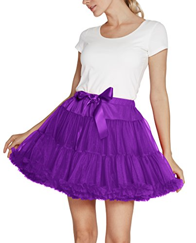 Urban CoCo Women's Petticoat Fancy Tutu Skirt Ballet Crinoline Underskirt (L, Grape) by Urban CoCo (Image #4)
