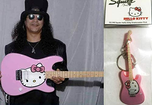Keychain Guitar Squier Stratocaster Hello Kitty