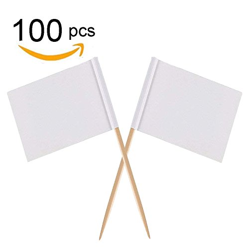 Price comparison product image Zehhe Mini Blank White Flag 100Pcs Paper Food Picks Dinner Cake Toothpicks Cupcake Decoration Fruit Cocktail Sticks Party Supplies