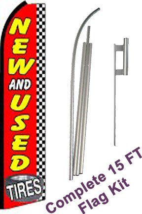 "NEOPlex - ""New & Used Tires Checkered"" Complete Flag Kit - Includes 12' Swooper Feather Business Flag With 15-foot Anodized Aluminum Flagpole AND Ground Spike"