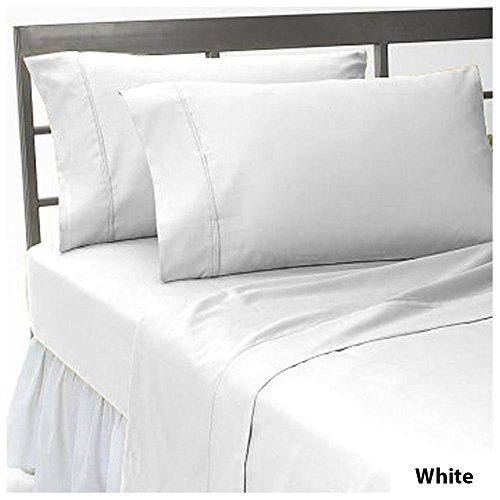 22 inch Deep Pocket 3 PCs Fitted Sheet Set 100% Pima Cotton 1000 TC Solid Pattern Size Twin Color White