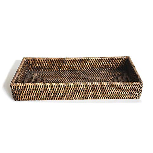 Matahari Home Antique Brown Rattan Vanity Tray — Handmade Natural Woven Fiber Rectangular Bathroom Countertop Organizer — 12.5