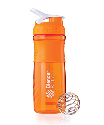 BlenderBottle SportMixer Tritan Grip Shaker Bottle, Orange/White, 28-Ounce