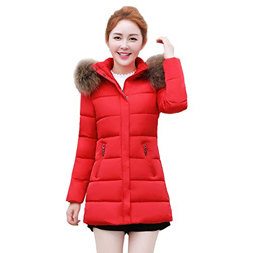 Womens Coats And Jackets Clearance Liraly Winter Warm Faux Fur Coat Hooded Thick Slim Long Jacket Overcoat(Red,US-8 /CN-L)