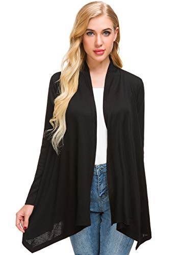 Afibi Women's Loose Casual Long Sleeved Open Front Breathable Cardigans (Large, Black)