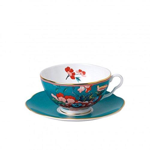(Wedgwood Paeonia Blush Teacup & Saucer Set Green)