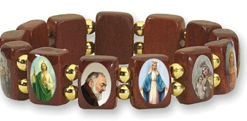 Catholica Shop Catholic Religious Wear Small Panel Wooden Elasticated Bracelet With Assorted Colored Images of Catholic Saints