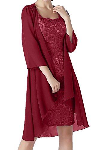 Lang Rot Damen Abendkleider Dunkel Brautmutterkleider mit Ballkleider Charmant Lang Etuikleider Jaket Festlichkleider Partykleider qa77zF