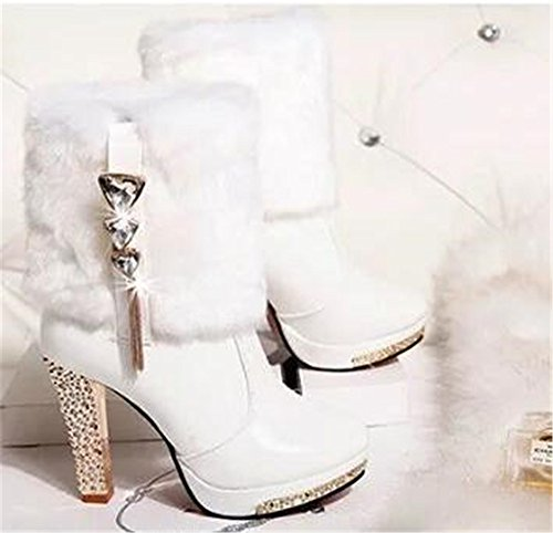 Womens PU Leather Rabbit Hair Winter High Heel Platform Shoes Lady Studded Rhinestone Warm High Leg Boots Snow booties White BZ0yymR1Q