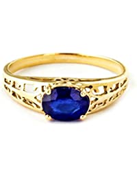14k Solid Yellow Gold Filigree Ring with 1.15 Carat (CTW) Natural Blue Sapphire-2394Y