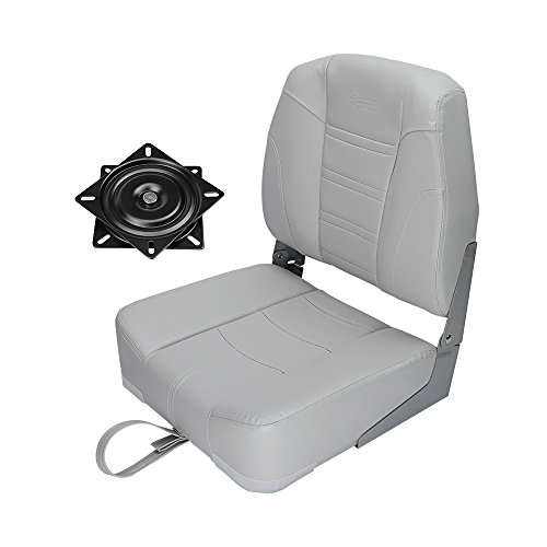 MSC Folding Boat Seat with Seat Swivel 360 Degree Rotation (AB-Gray/Gray) from MSC