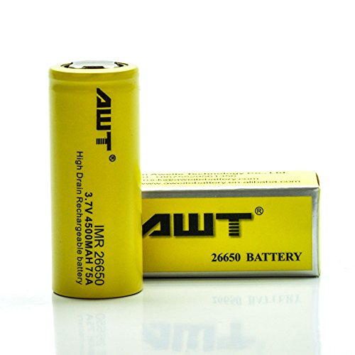 AWT IMR 26650 4500MAH 75A 3.7V Rechargeable Battery | Authentic ION High Drain Batteries