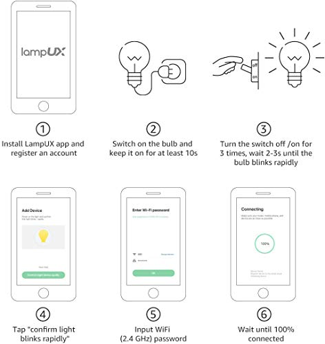 Alexa Smart Light Bulb, RGB Color Changing LED Bulbs, Works with Alexa and Google Home, Dimmable A19 E26 Bulb 60 Watt Equivalent, 2.4GHz WiFi Only, No Hub Required (2 Pack)