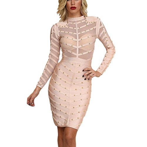 Long Dress Sleeve Bandage Length Rayon Mesh Beaded HLBandage Beige Knee 6d8wqx5