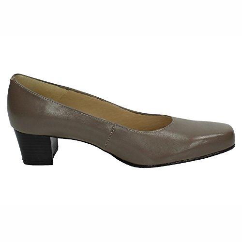 Piel Señora De Zapato15 Taupe Ancho In Zapato Made Spain Tacón Zapatos 0xSwq6