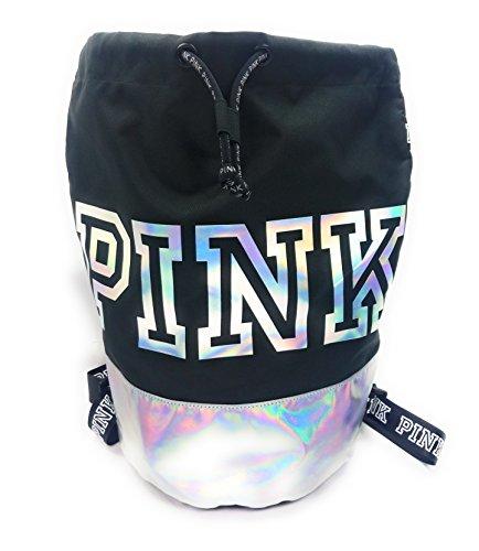 Victoria's Secret PINK Canvas Backpack Drawstring Adjustable Strap Black and Silver Tote
