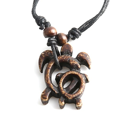 - HZMAN Imitation Ivory Carved Mother and Baby Turtles Pendant Hemp Cord Necklace Chain