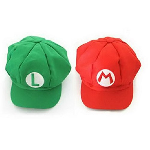 Super Mario Hat Super Mario Bros Unisex Red&Green Cosplay Hat -