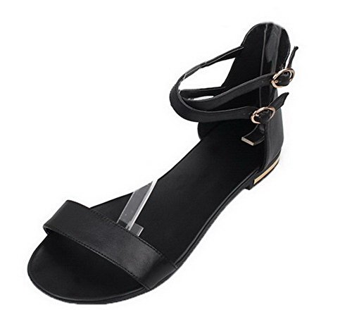 VogueZone009 Women Low-Heels PU Solid Zipper Open Toe Sandals Black