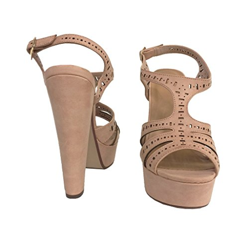 Avhjälpa! Kvinna Peep Toe Utklipp T-rem Slingback Plattform Sandaler I Tan Läder