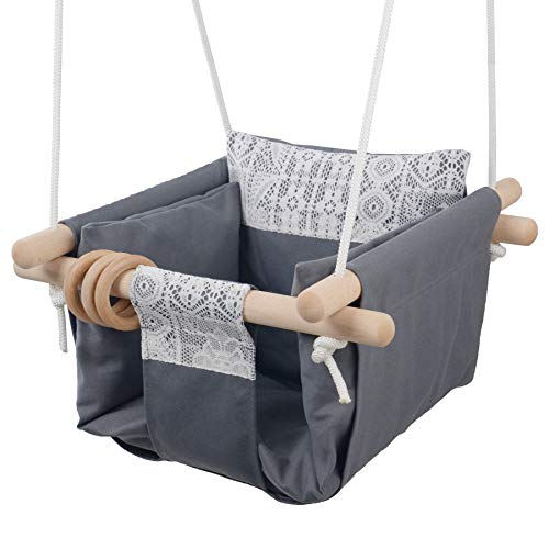 Jozeit Baby Kids Toddler Canvas Swing Seat Chair – with Cushion – Lace Decor (Grey)