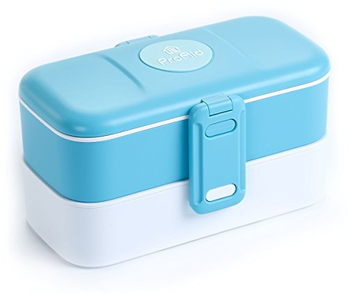 ProAid Bento Lunch Box - 2 Layers Design Bento Box with Stainless Steel Silverware, BPA Free, Safe for Fridge and Dishwasher, Blue