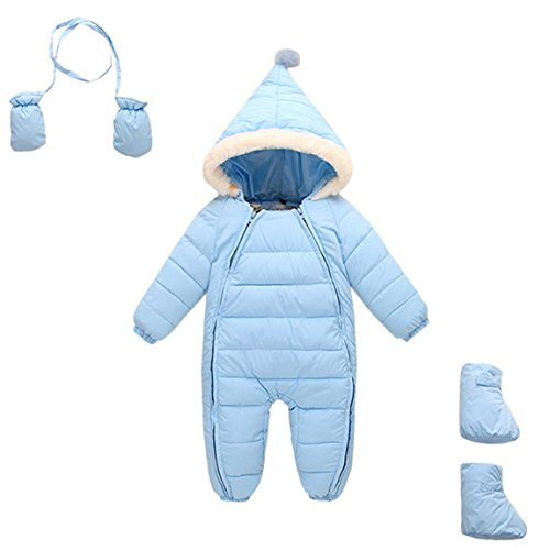 Down Cotton Baby Romper Baby Winter Zip Coat Cute Baby Snowsuit with Gloves 6 - 18 Months Light Blue