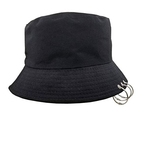 Kpop Bucket-Hat with Rings,Fisherman-Cap - Men Women Unisex Caps with Iron Rings