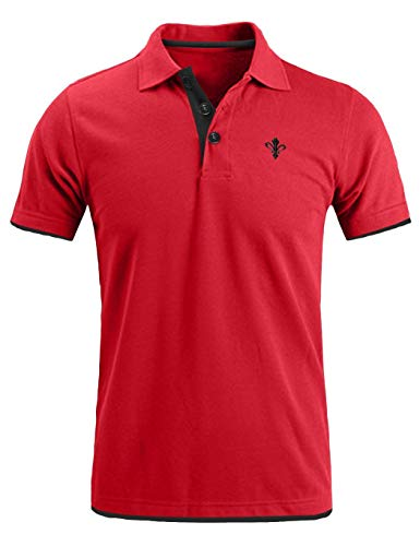 (COOFANDY Mens Short Sleeve Polo Shirts Slim Fit Casual Contrast Striped Sports Golf Polo T Shirt)