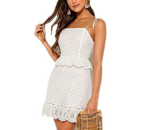 Tied Shoulder Ruffle Trim Elegant Schiffy Dress Women Summer High Waist Sleeveless Slim Mini Dresses,White,Xs ()