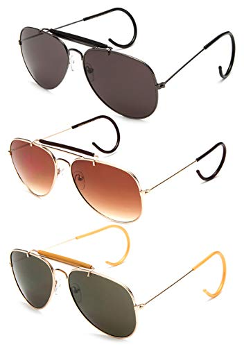 Cable Classics Sunglasses - Timeless Classic Aviator Sunglasses with Brow Bar and Cable Wire Wrap Ears Temples For Secure Fit Men Women