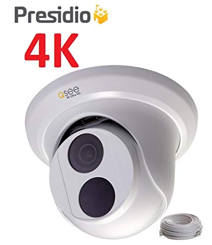 Q-See 4K 8MP Presidio Bastion Dome Camera with Color Night Vision Ultra HD IP Surveillance with H.265+ and IVA, VCA (BA4KD1.1)