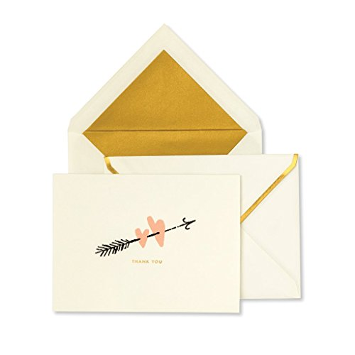 Kate Spade New York Thank You Card Set of 10 with Blank Interior and Envelopes (Two Hearts)