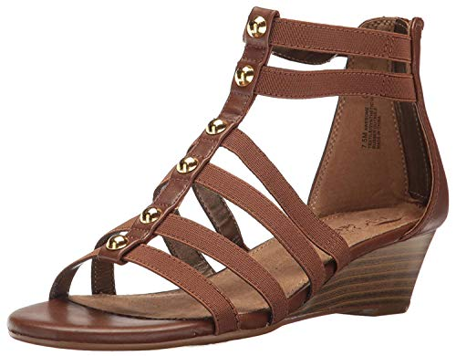 Aerosoles Women's Awesome Wedge Sandal, Dark Tan Combo, 5.5 M US