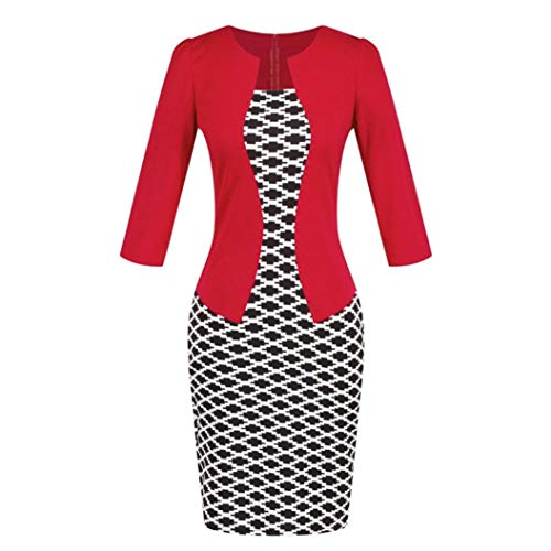 Conina Dress for Women Colorblock Plaid Wear to Work Business Party Bodycon Dress (Red, M)