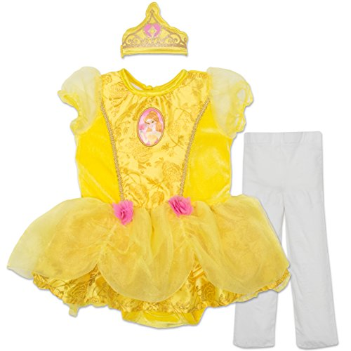 Disney Dress Up For Babies (Disney Princess Belle Baby Girls' Costume Tutu Dress, Headband and Tights)