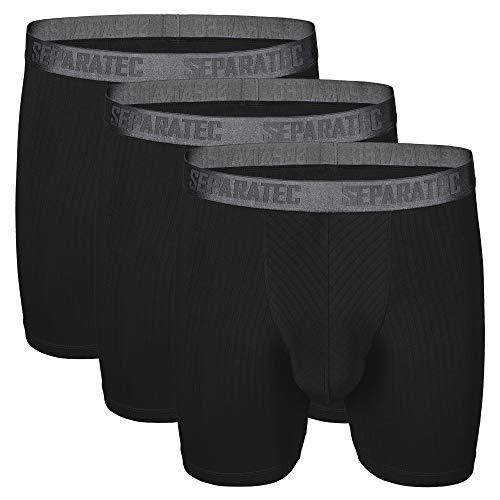 Separatec Men's 3 Pack Soft Modal Stylish Drop Needle Striped Boxer Briefs Underwear(M,Black)