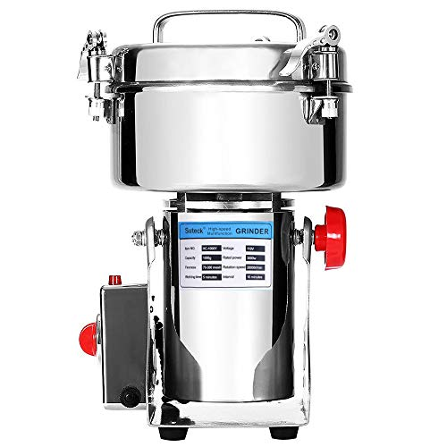 Suteck Electric Grain Grinder Mill Powder Machine High Speed Commercial Swing Type Grinder Machine for Herb Pulverizer Grinding Various Grains Spice (1000g)