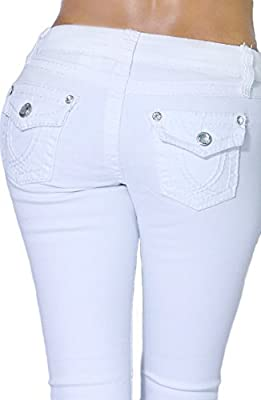 Womens Butt Lifting Bootcut White Jeans with Gem Embellishment and Pockets