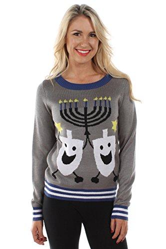Tipsy Elves Women's Ugly Hanukkah Sweater Menorah with Pair of Happy Dreidels