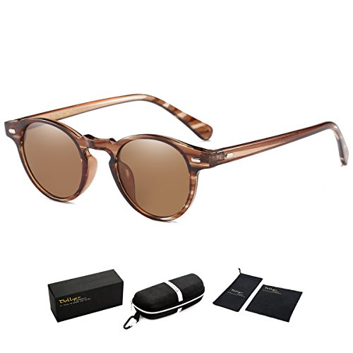 Dollger Classic Horn Rimmed Keyhole Nose Small Round Sunglasses with Metal Rivets (Brown Lens+Stripe Frame, 100% UV protection - Keyhole Men Sunglasses