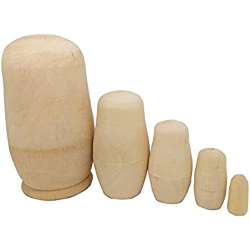 MAGIKON 5inch Set Of 5pcs Unpainted Russian Nesting Doll , Blank Doll ,  Make Your Own