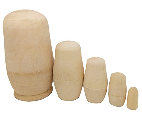 Make Russian Nesting Dolls (MAGIKON 5inch Set of 5pcs Unpainted Russian Nesting Doll , Blank Doll , Make Your Own Doll)
