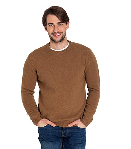 Mens Lambswool Sweater (WoolOvers Mens Lambswool Crew Neck Knitted Sweater Camel, L)