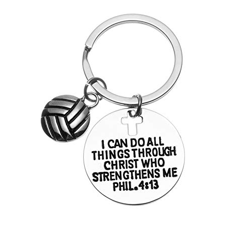 Infinity Collection Volleyball Charm Keychain, Christian Faith Charm Keychain, I Can Do All Things Through Christ Who Strengthens Me Phil. 4:13 Scripture Jewelry, Volleyball Gifts for Women and Girls