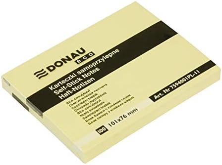 DONAU 7594001PL-11 Eco Würfel Haftnotizen Gelb Selbstklebende Sticky Notes 101x76mm, 1x100 Blatt für Büro Schule