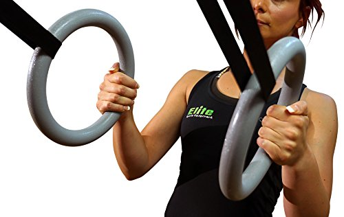 Elite Sportz Gymnastics Rings for a Full Body Workout - Quality Buckle Design, Highly Durable Straps and Comes With 2 Textured Gym Rings for a Confident Non-Slip Workout - Bonus Jump Rope Included