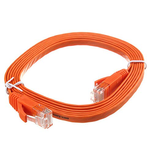 2M RJ45 Flat CAT-6 Ethernet Internet Network LAN Cable Patch Lead For Router - Networking Networking Cables & tools - (Orange) - 1 x CAT-6 flat network wire